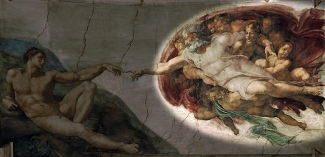 Michelangelo hid images in sistine chapel paintings for Creation of adam mural